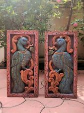 Vintage Peacock Wall Hanging Panel Sculpture Floral Inlaid Home Decor Statue Art
