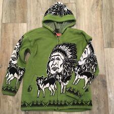 Ecuador Brand Wool Cotton Hoodie Indian Wolves Zip Up Green Novelty Est Sz L/XL