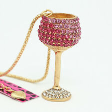 Betsey Johnson Crystal Rhinestone Wine Glass Goblet Pendant Sweater Necklace