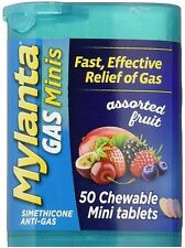 Mylanta Gas Chewable Mini Tablets, Assorted Fruit 50 ea (Pack of 2)
