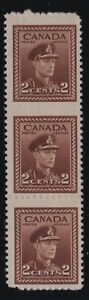 """Canada Sc #250d (1942) 2c brown KGVI War Issue """"Imperforate"""" Strip Mint NH"""