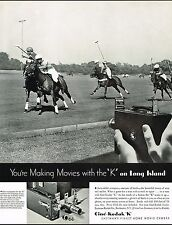1934 BIG Original Vintage Cine Kodak K Movie Camera Horse Polo Photo Print Ad