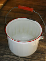 Vintage White Red Enamel Chamber Pot Diaper Pail No Lid Primitive Farmhouse