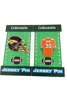 Denver Broncos Terrell Davis jersey lapel pin & helmet pin-Classic Collectibles