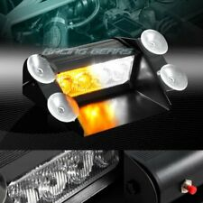 4 LED AMBER & WHITE EMERGENCY DASHBOARD WARNING FLASH STROBE LIGHT UNIVERSAL 6