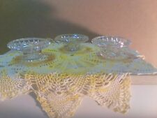 Vintage First National Glass Indonesia Pressed Glass Candleholder Trio