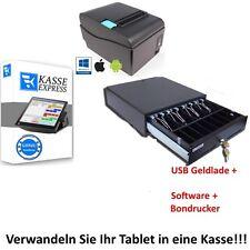 GASTRO Kassen-Set: Kassenlade, LAN Bondrucker, Win KASSENSOFTWARE für Restaurant
