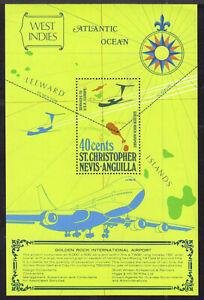 ST. KITTS-NEVIS-ANGUILLA #294 40c GOLDEN ROCK INT. AIRPORT SOUVENIR SHEET