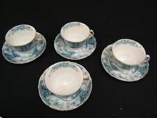 Set of 4 Cups & Saucers Burgess & Leigh Burslem Richmond Blue/Green Vintage