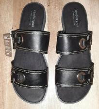 Comfort Plus black 2 strap slip on sandals, Women's size 13W