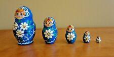 New Russian Matryoshka Babushka Nesting Wooden Doll 5 piece