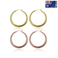 NEW Stunning Women Girls 18K Gold / Rose Gold Plated 34mm Round Hoop Earrings