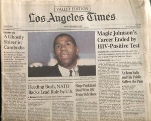 Magic Johnson Retires HIV Original Los Angeles Times Newspaper 1991 Lakers