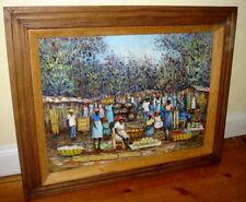 Loubert Antoine Oil Impressionist Haiti Village Market Scene Painting c.1979