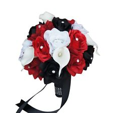 "10"" Bouquet-Silk rose Real Touch calla lily-Black Apple Red White"