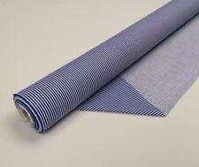 "1 Meter 46"" Wide Rich Poly Cotton Royal Blue White Narrow Stripe Sailor Fabric"