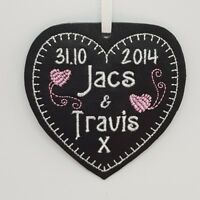 3rd Wedding Anniversary REAL LEATHER Personalised Heart Gift Love Present couple