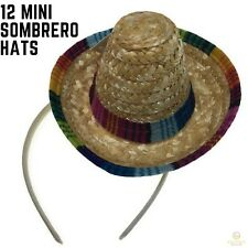12x MINI SOMBRERO HATS on Headband Mexican Spanish Fiesta Party Costume BULK