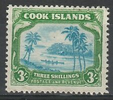 COOK ISLANDS 1938 PICTORIAL 3/- SINGLE NZ STAR WMK USED TOP VALUE