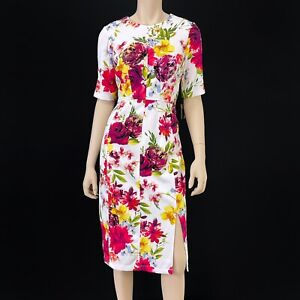 Taylor Women's White Multi Color Floral Short Sleeve Sheath Dress Size 8 NWT