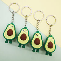 Fashion Simulation Fruit Avocado Smile Keychain 3D Resin Key Chains Jewelry N_N