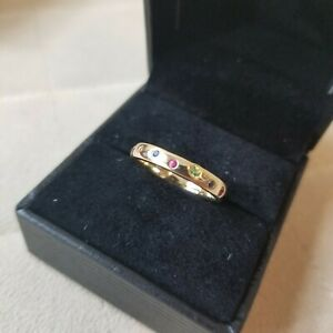 NWOT EF Collection $895 Rainbow Speckled Gemstone 14k Yellow Gold Band Ring