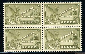 MEXICO MNH Air Post BLOCK Selections: Scott #C173 30c Brown Olive WMK279 CV$8+