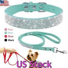 New listing Rhinestone Puppy Pet Dog Cat Collar & Lead Leash Set Pu Leather Leash Adjustable