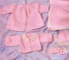 """KNITTING PATTERN 14"""" VINTAGE BABY DOLLS CLOTHES & BLANKET 8 ITEMS TO MAKE DK"""