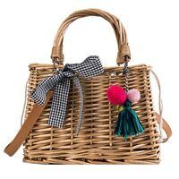 Women Straw Bag Summer Beach Rattan Shoulder Bags Bamboo Bag Handbag Crossbody