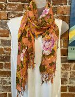 Isaac Mizrahi Peach Sorbet Pink Cottage Rose Print Lightweight Scarf New