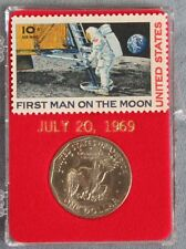 United States First Man On The Moon Stamp & SBA Dollar