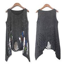 Elegant Women Tank Top Punk Rock Hole Pok Print Sleeveless Vintage T-shirt