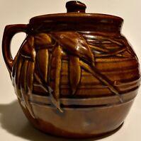 Antique Drip Glaze BEAN POT Foliage Allover Horizontal Lines McCOY POTTERY NR