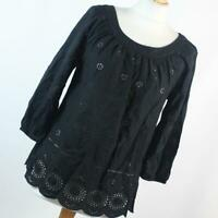 F&F Womens Size 8 Black Plain Cotton Blouse