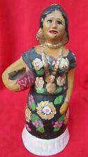 Vintage Collectible Mexican Folk Art Ceramic Oaxacan Woman Mezcal Bottle