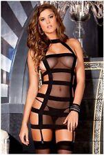 Women Black Sexy Set Lingerie Babydoll Nightwear Sleepwear With G string