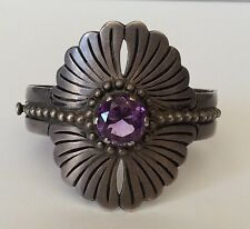 Wow!!! Vintage Mexico Taxco 925 Eagle 3 Sterling Silver Amethyst Bracelet 69 g.