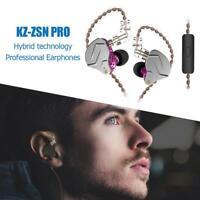 KZ ZSN Pro Metal Earphone 1BA+1DD Hybrid HIFI Bass Earbuds In Ear Headset w/ Mic