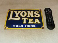 "VINTAGE LYON'S TEA SOLD HERE 10"" PORCELAIN METAL LION SODA POP GASOLINE OIL SIGN"