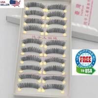 10 Pairs False Eyelashes Natural Long Eye Lashes Handmade Thick Black Makeup Set