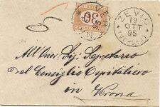 P7393   Verona, Zevio, bustina viaggiata per Verona e tassata per c. 30, 1895