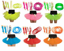 1980's UV Neon Set 3 Layer Ladies TuTu Skirt+Necklace+Bangles+Fishnet+Leg Warmer
