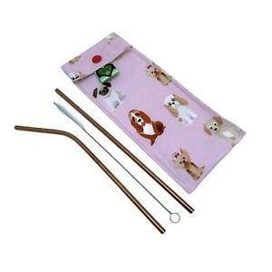 Reusable straws with a travel pouch. Dog print bag, steel straws, Dog Lover Gift