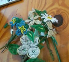 Vintage Lot 6 Beaded Flowers Bouquet Daisy Lily White Blue French style hand art