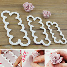 3pcs 3D Rose Petal Flower Cutter Fondant Cake Sugarcraft Decorating Mould.. uk