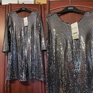 Next UK 14 P NWTBlack/Silver Metallic Shorts Playsuit Glitter Xmas Party RRP £45