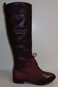 Kooba Size 6 M SERENITY Wine Leather Suede Knee High Lace Boots New Womens Shoes