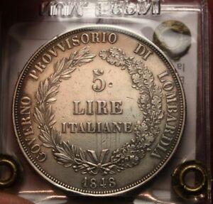 NL* MILANO Governo Provvisorio 5 Lire Argento 1848 BB Perizia ERPINI G.Franco