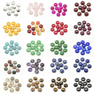 50pcs Flat Back Natural Gemstone Cabochons Cameo Dome Round Dyed/Undyed 6~20mm
